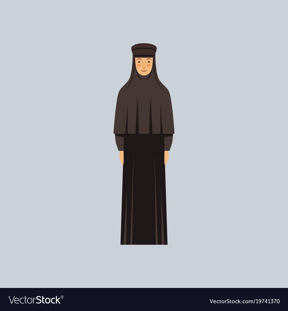Orthodox nun representative of religious vector image