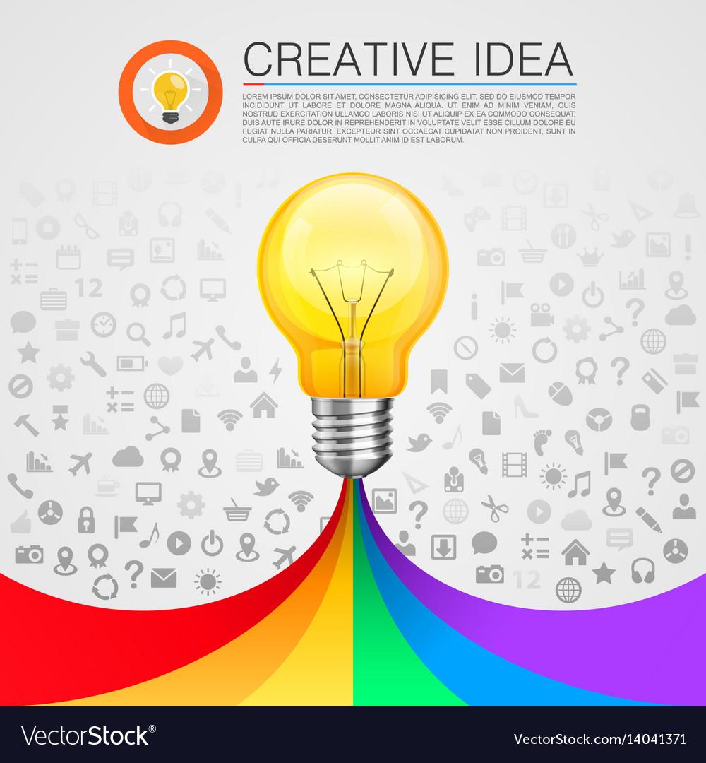Creative idea lamp with rainbow vector image