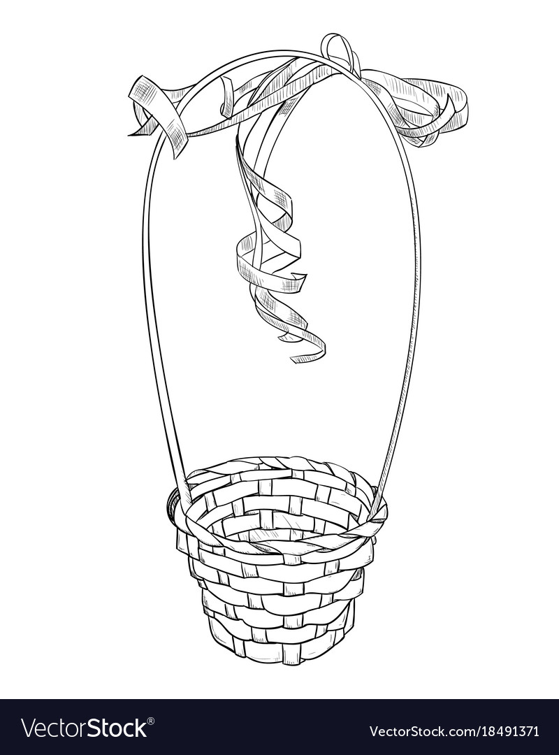 Hand drawn sketch of basket from vines vector image