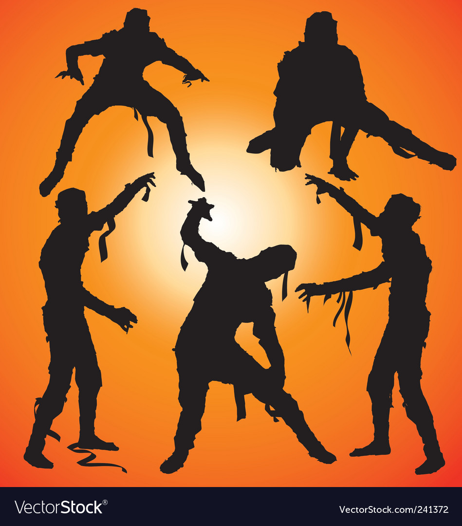 Mummy silhouettes vector image