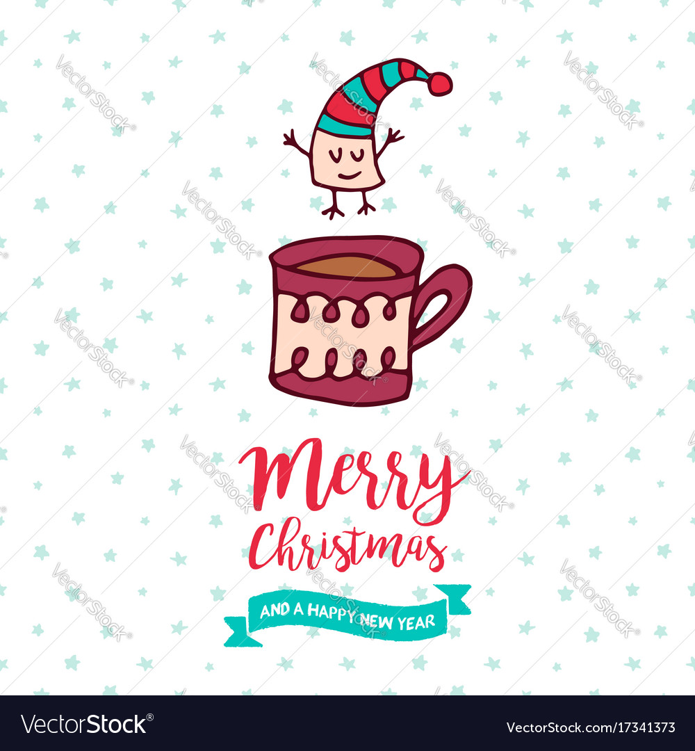 Christmas and new year cute marshmallow cartoon vector image