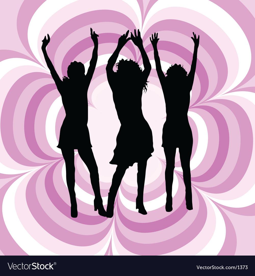 Females dancing vector image