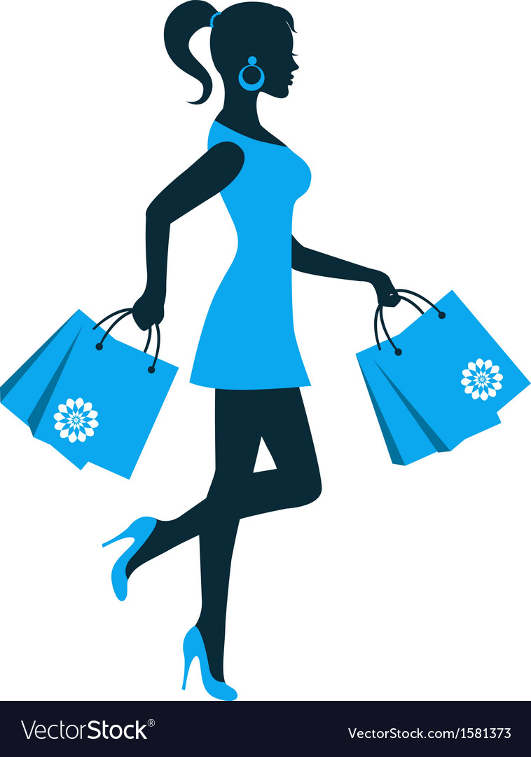 Woman silhouette with shopping bag vector image
