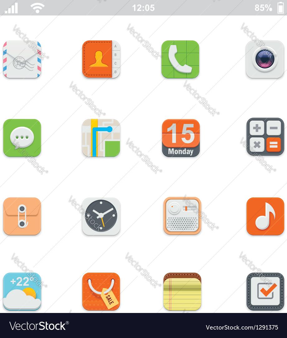 Generic smartphone UI icons vector image