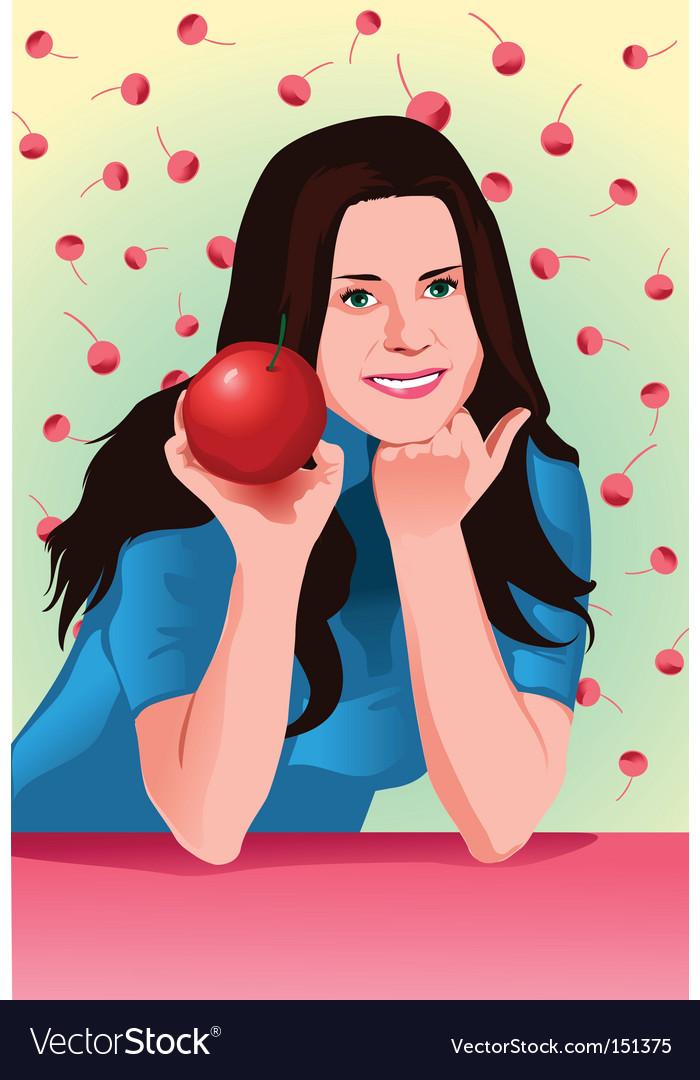 Cherry girl vector image