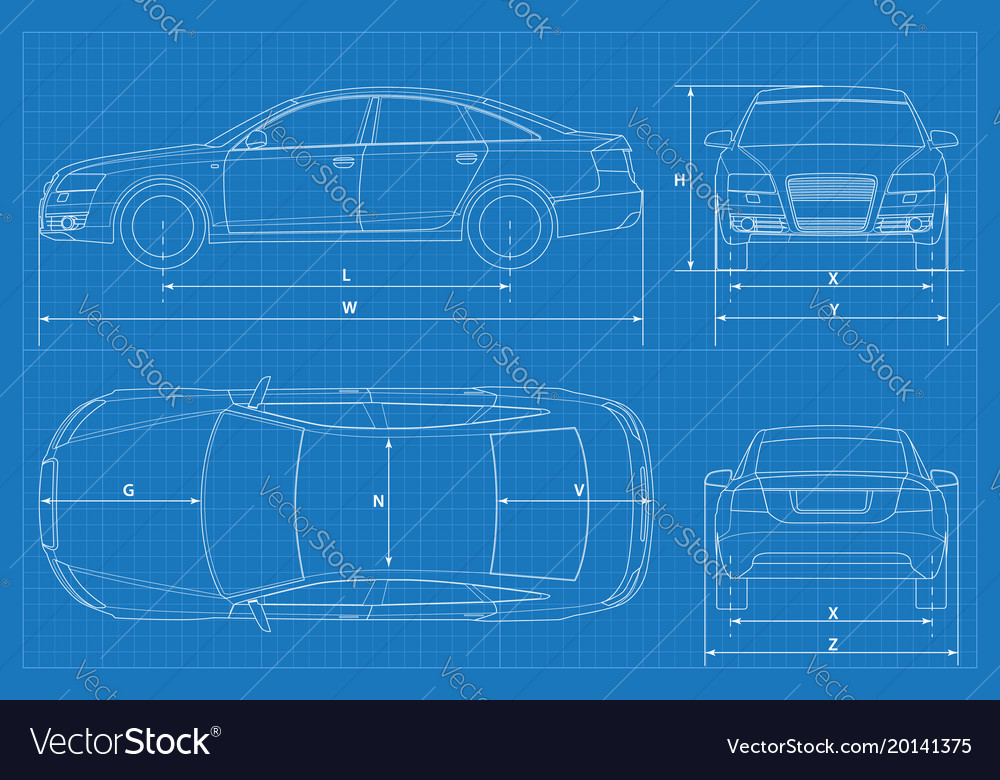Car schematic or car blueprint Royalty Free Vector Image
