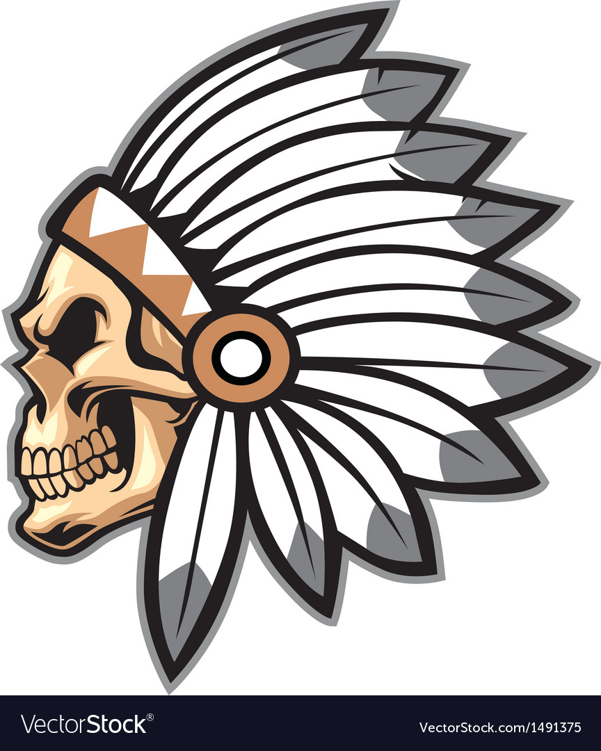 cartoon of indian chief skull royalty free vector image
