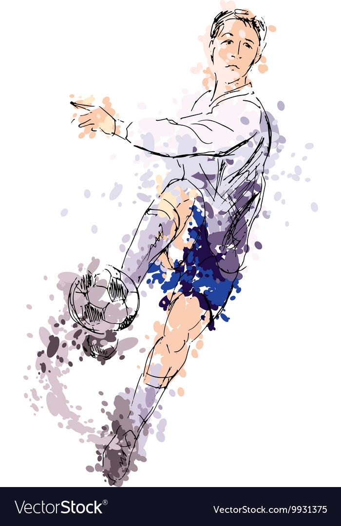 Colored hand drawing a soccer player vector image