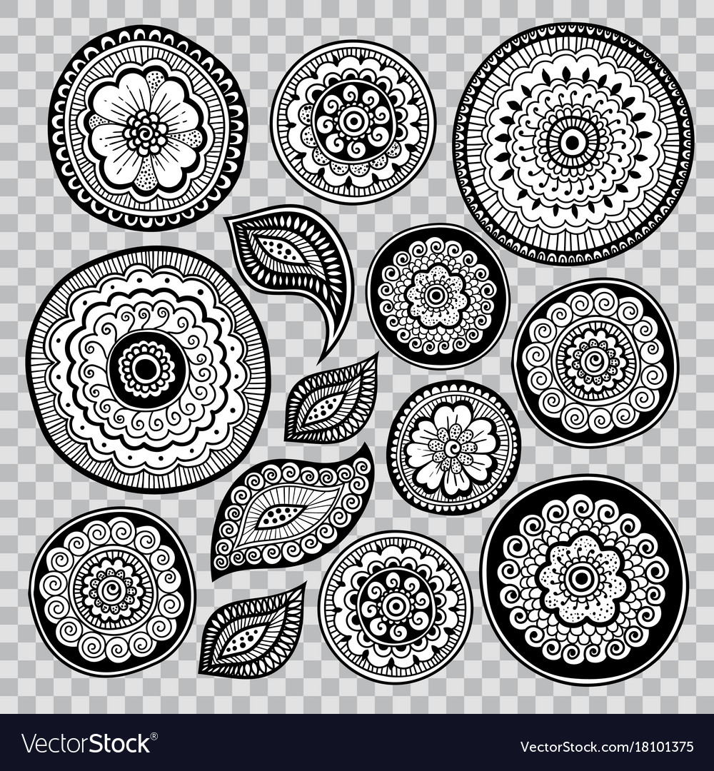 Indian floral elements lace leaves and flowers vector image