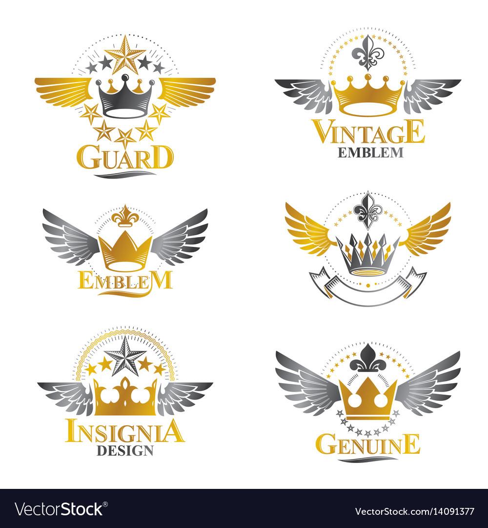 Majestic crowns emblems set heraldic coat of arms vector image