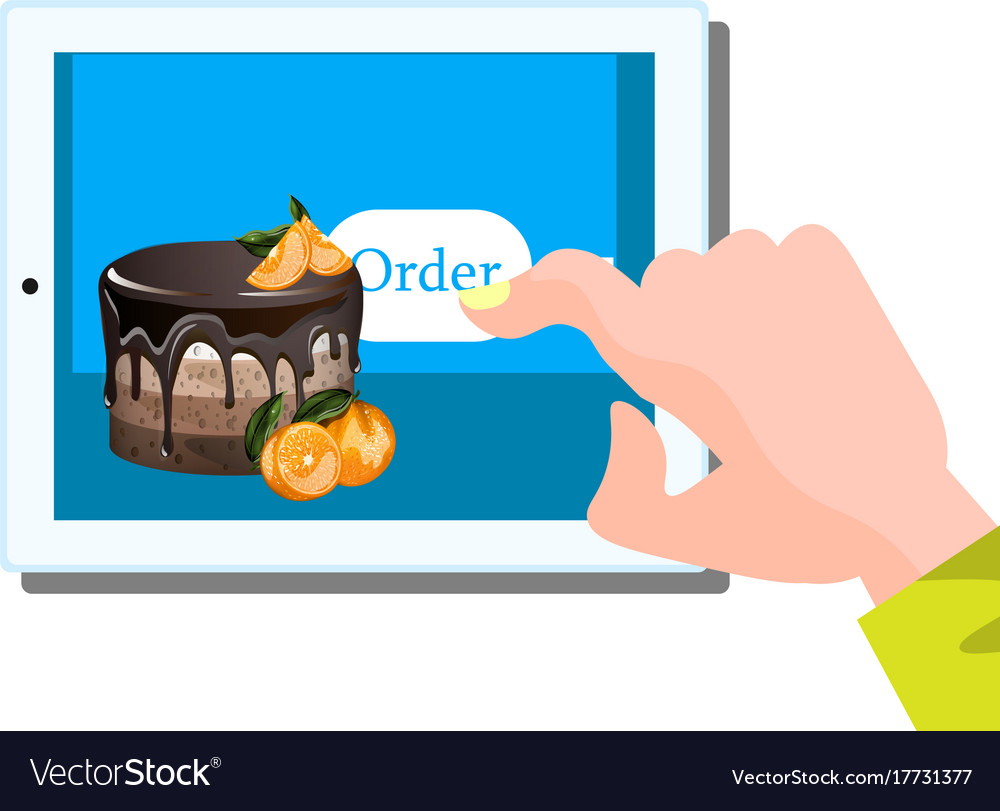 Online cake ordering via the internet Royalty Free Vector