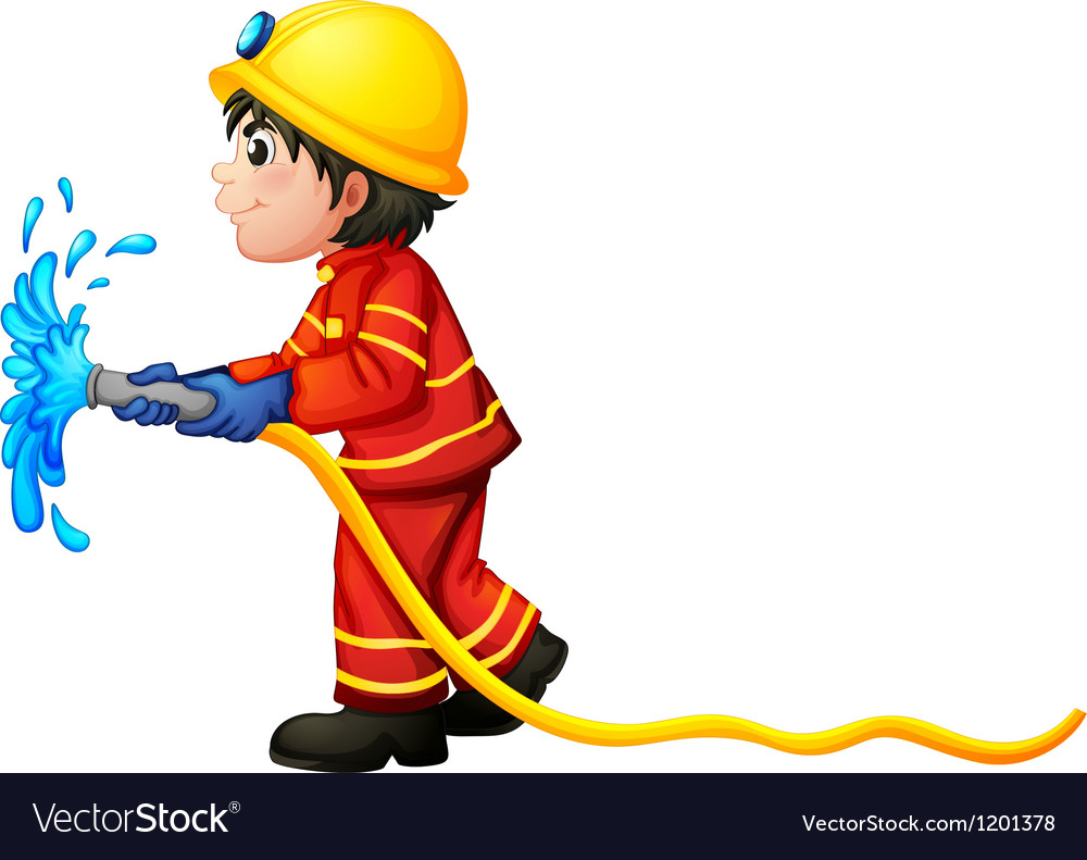 A fireman holding a water hose vector image