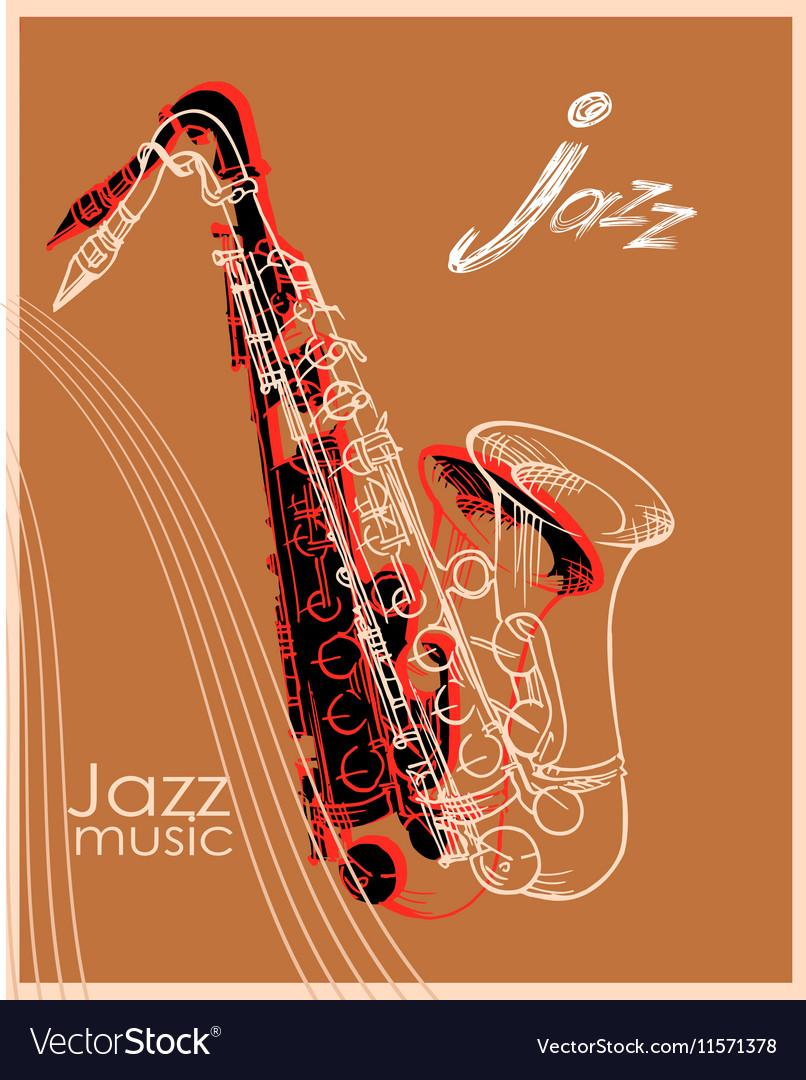 Jazz saxophone poster vector image