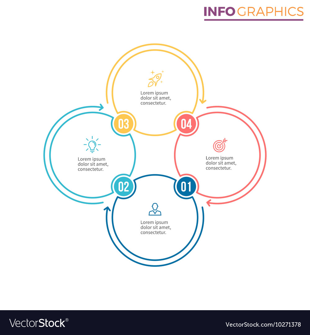 Linear infographics Chart with 4 steps options vector image