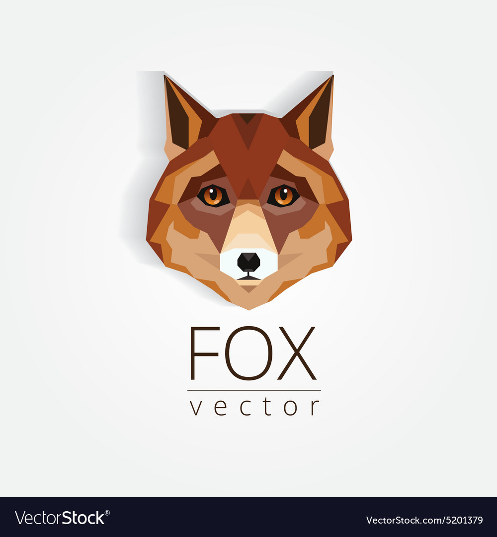 3d origami low polygon fox vector image