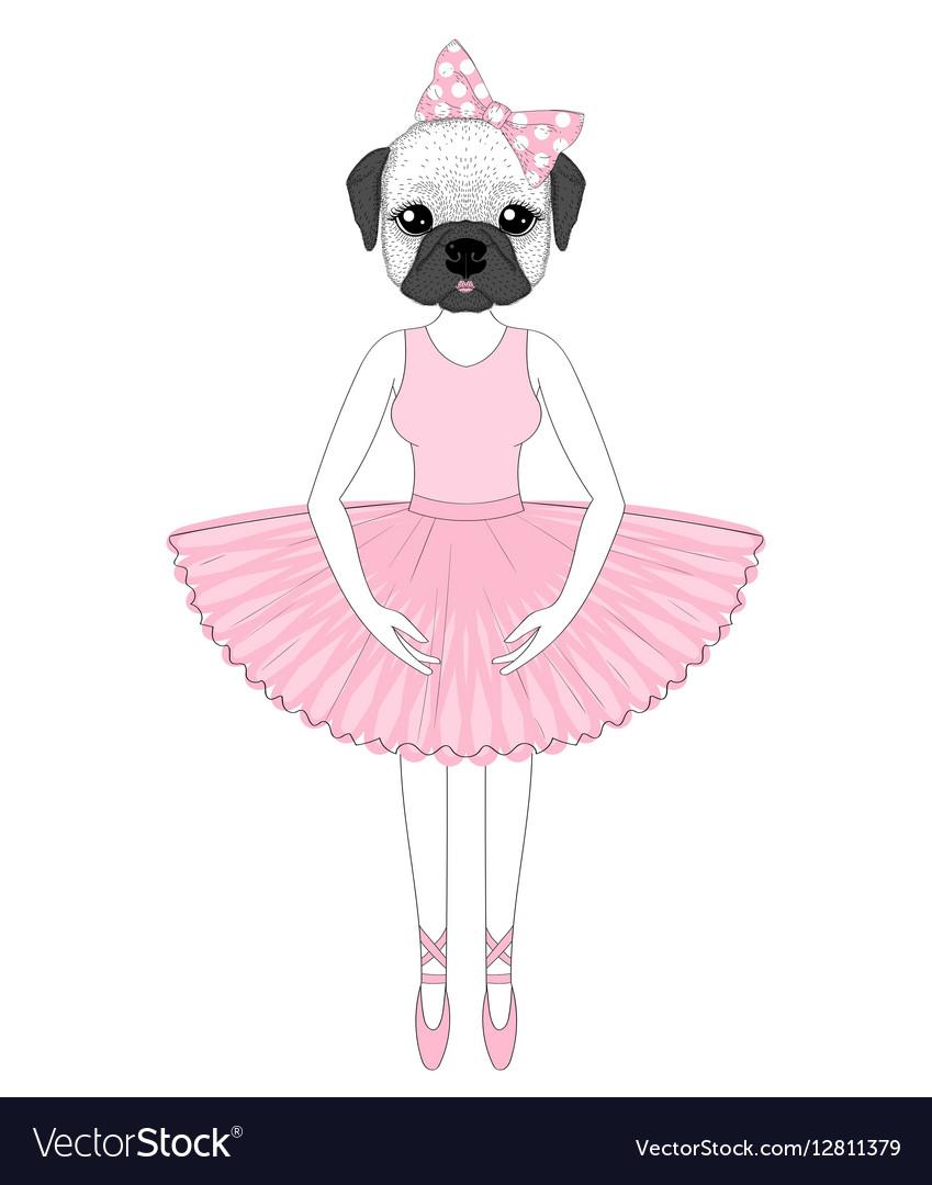 Cute french bulldog in dress like ballerina Hand vector image