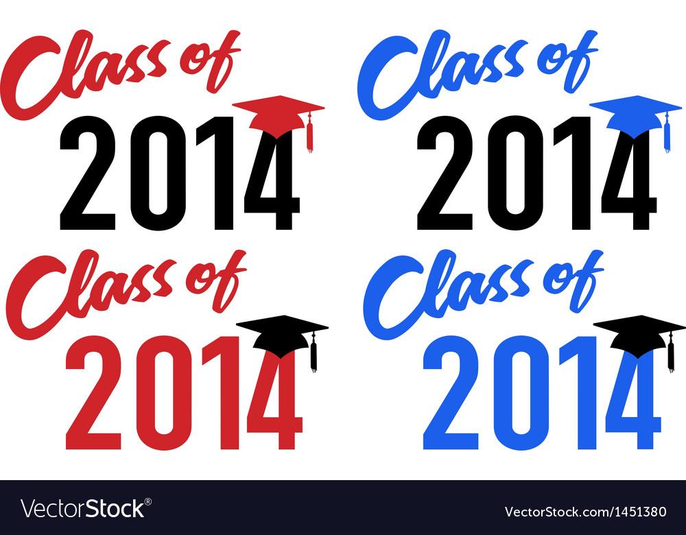 Class of 2014 school graduation cap vector image