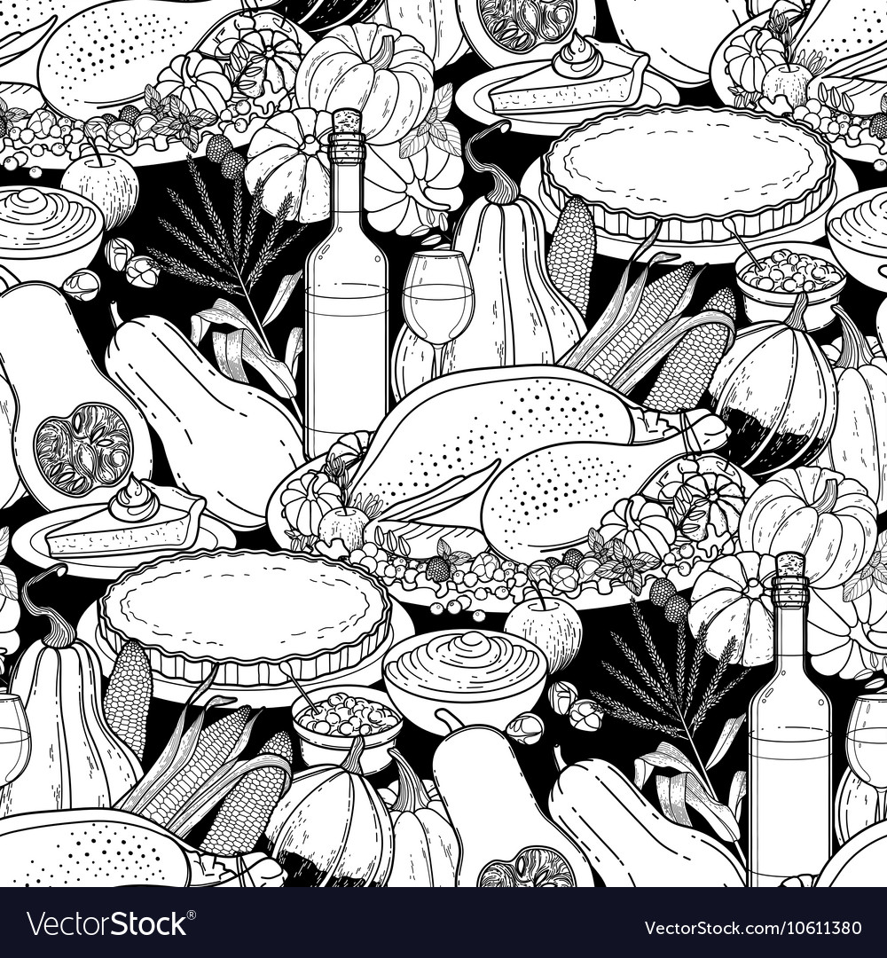 Graphic Thanksgiving day pattern vector image