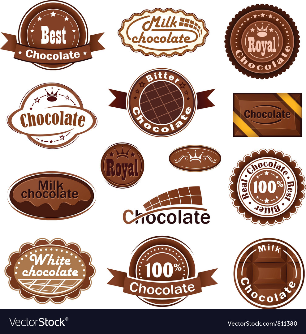 Set of chocolate badges vector image