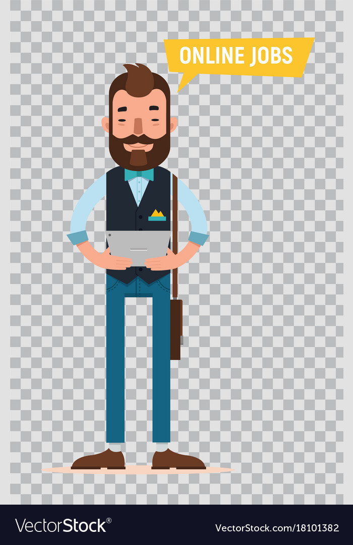 man looking for job online serviceflat character vector image - Looking For Jobs Online