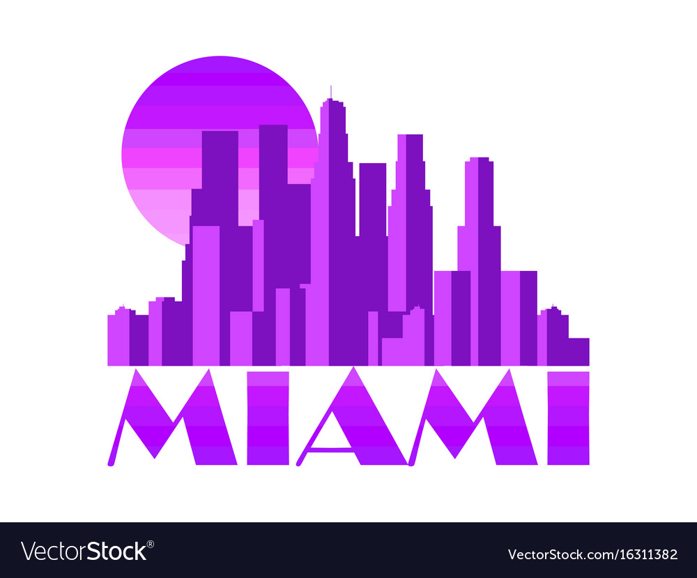 Miami city skyscrapers isolated on white vector image