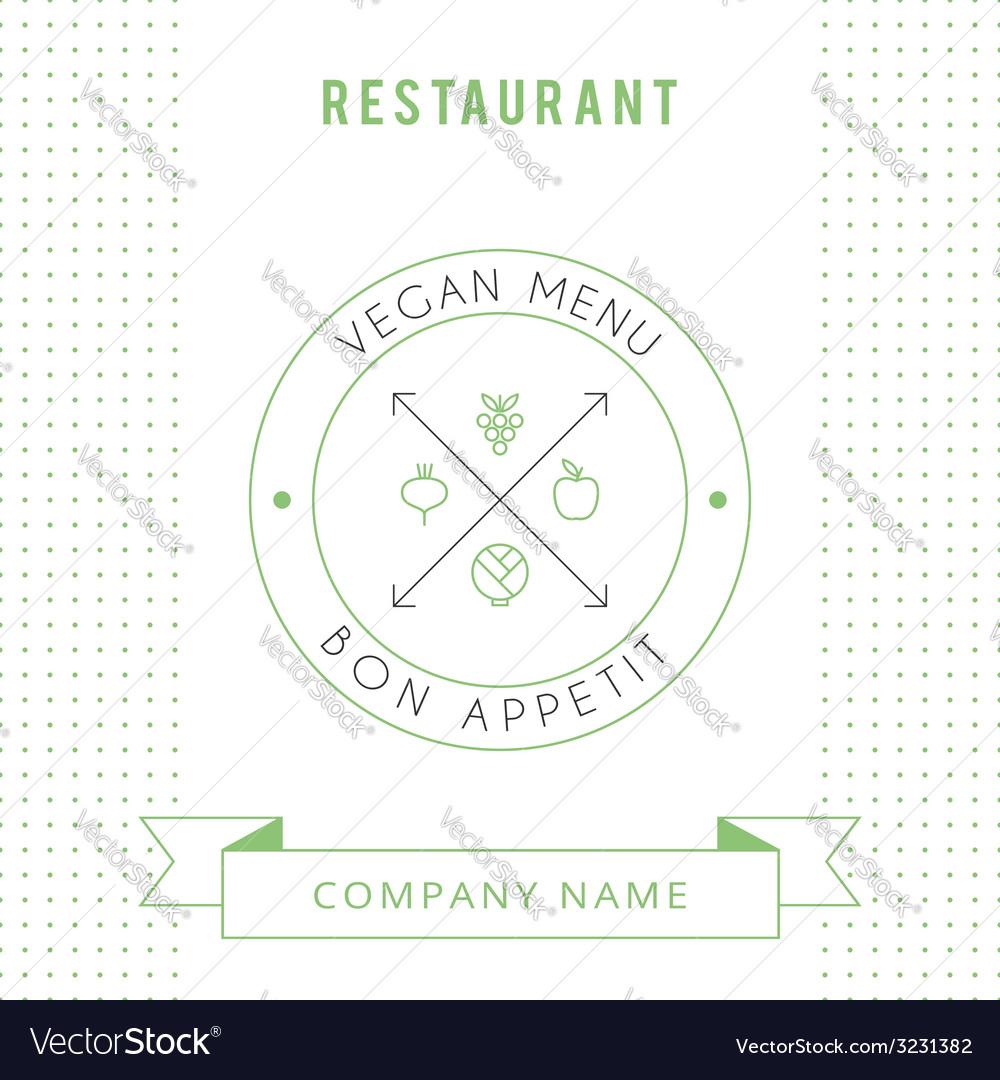 Restaurant Vegetarian Menu card design template vector image