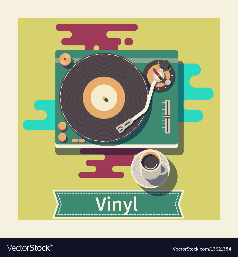 Retro vinyl turntable flat vector image