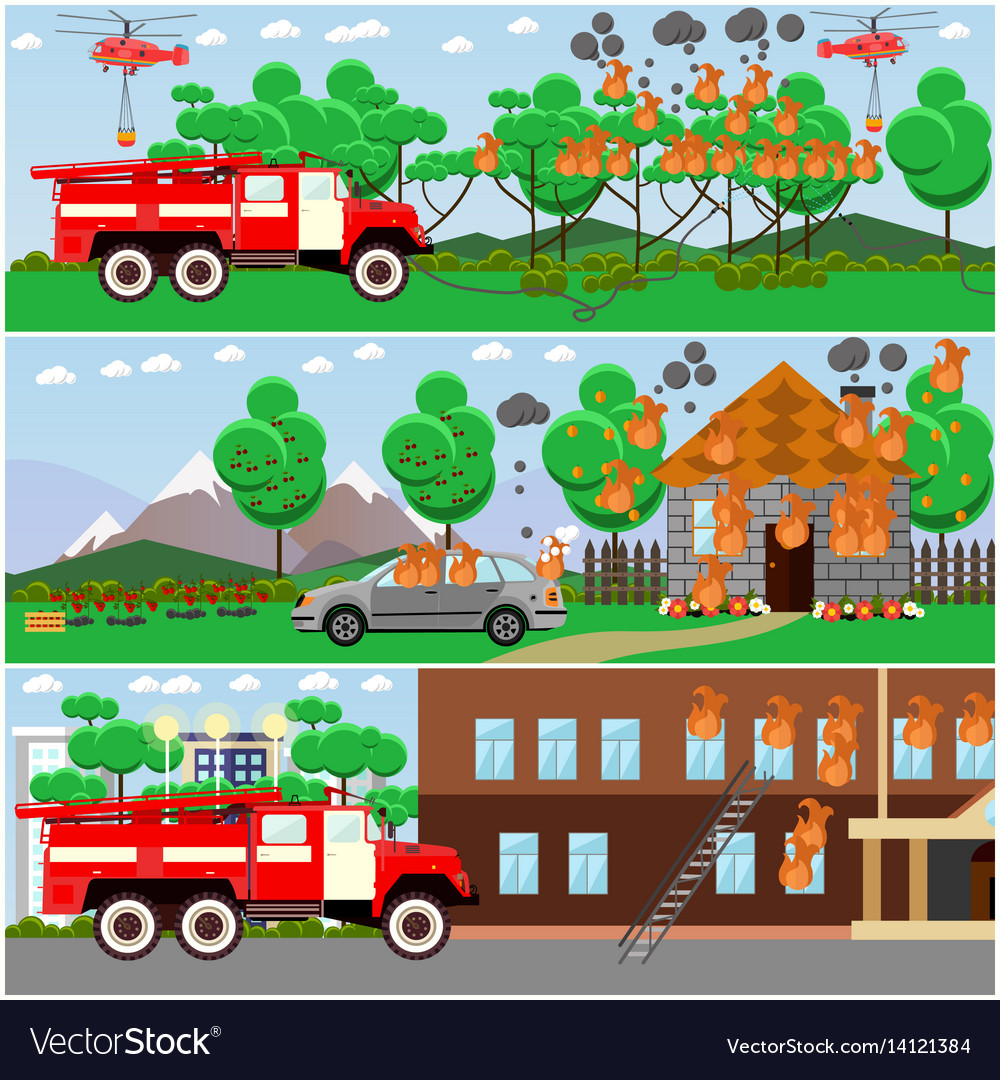 Set of fire posters banners in flat style vector image