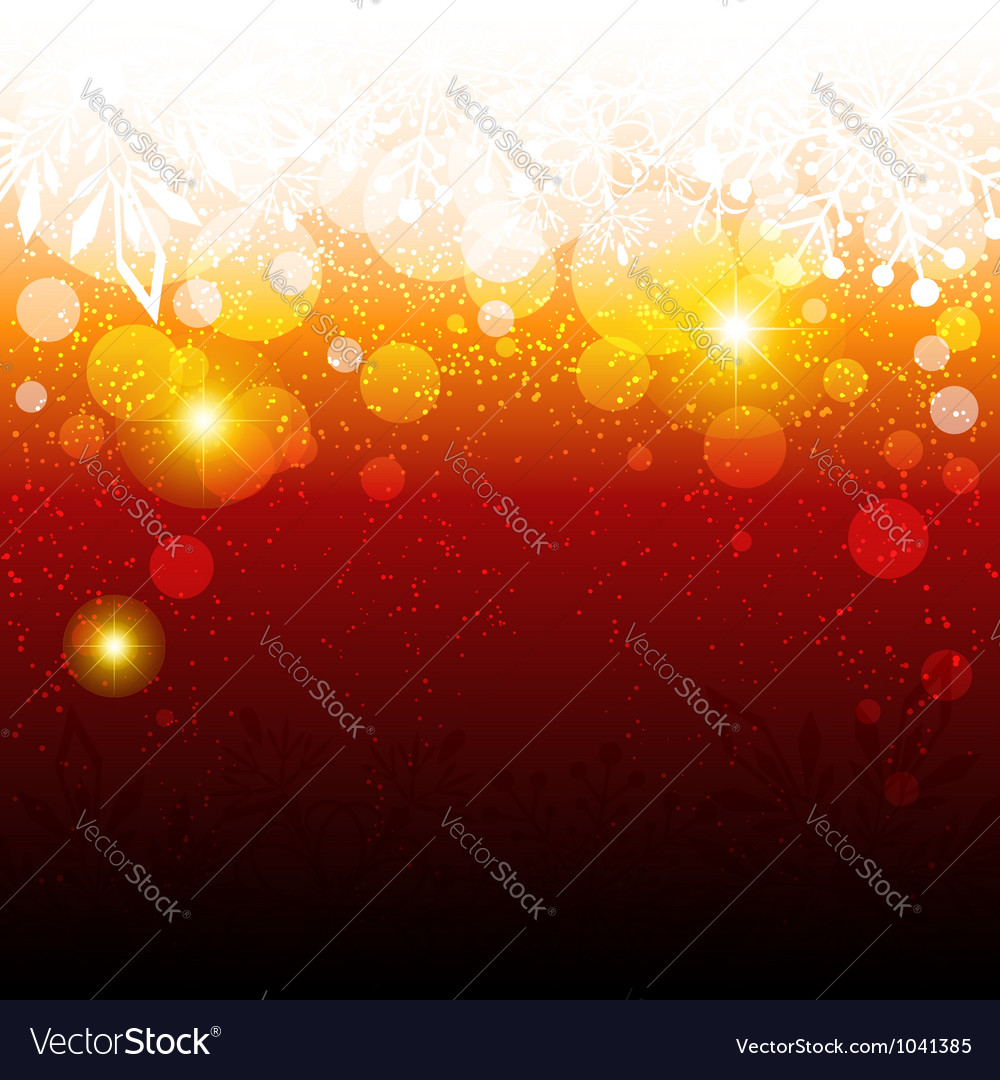 Sparkling Red Christmas Snowflake Background vector image