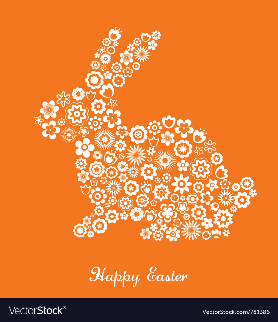 Easter greeting card with bunny and flowered patte vector image