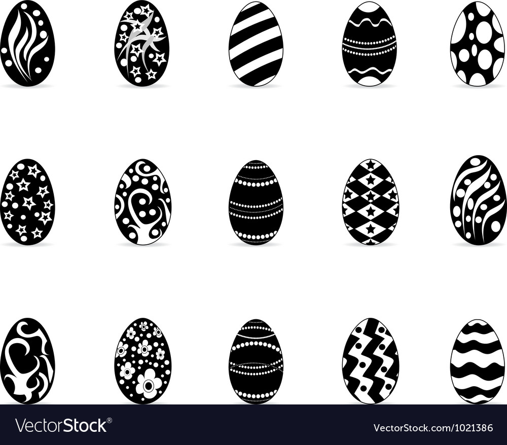 Black easter egg icons vector image