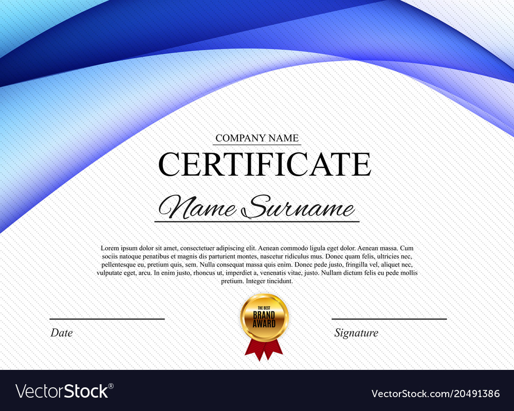 Certificate template background award diploma vector image yadclub Choice Image