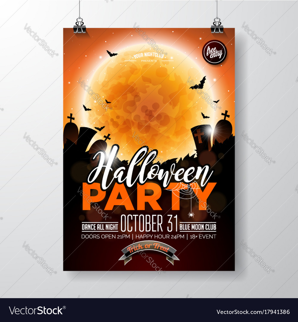 Halloween party flyer with vector image