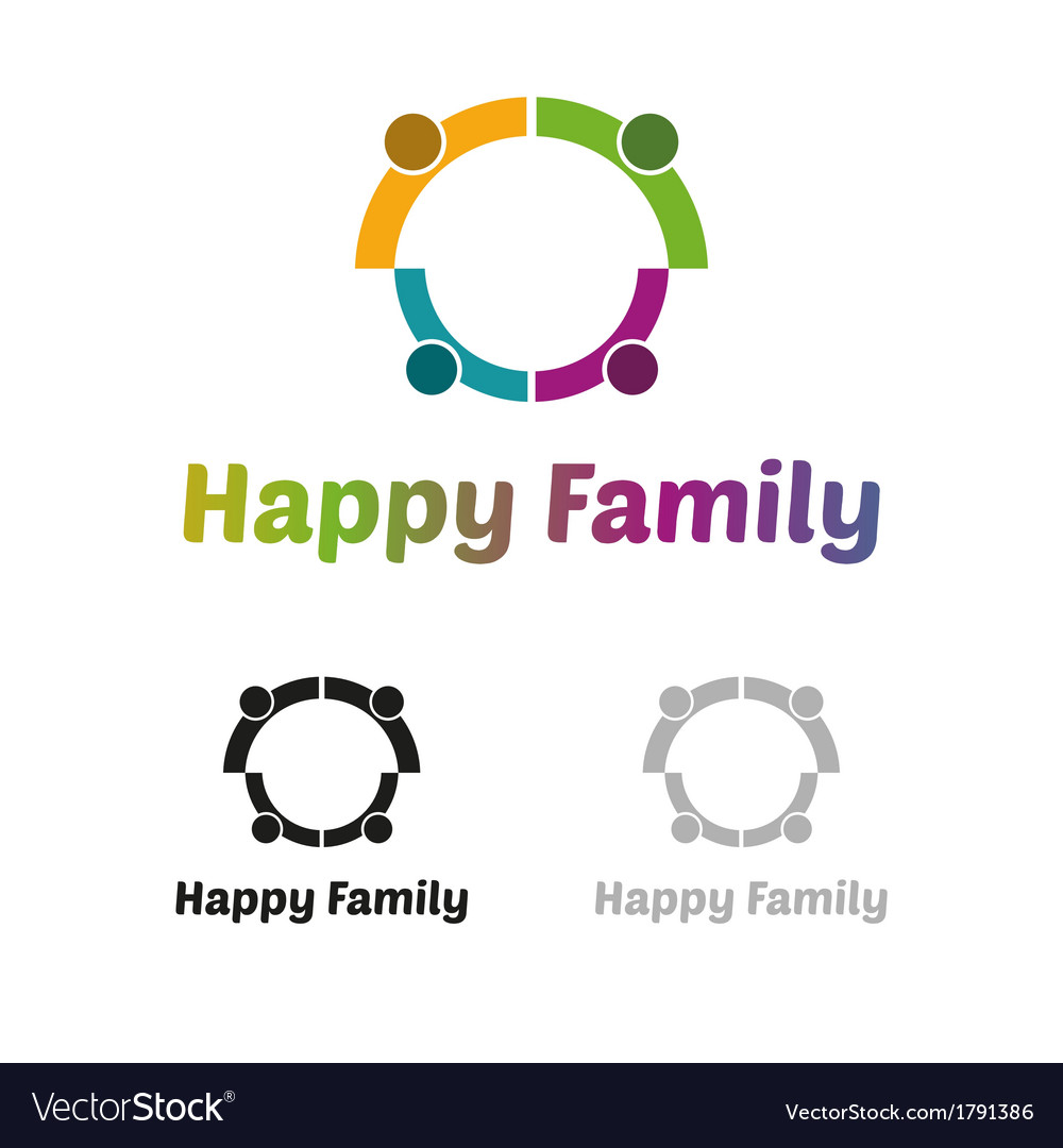 Happy family logo vector image