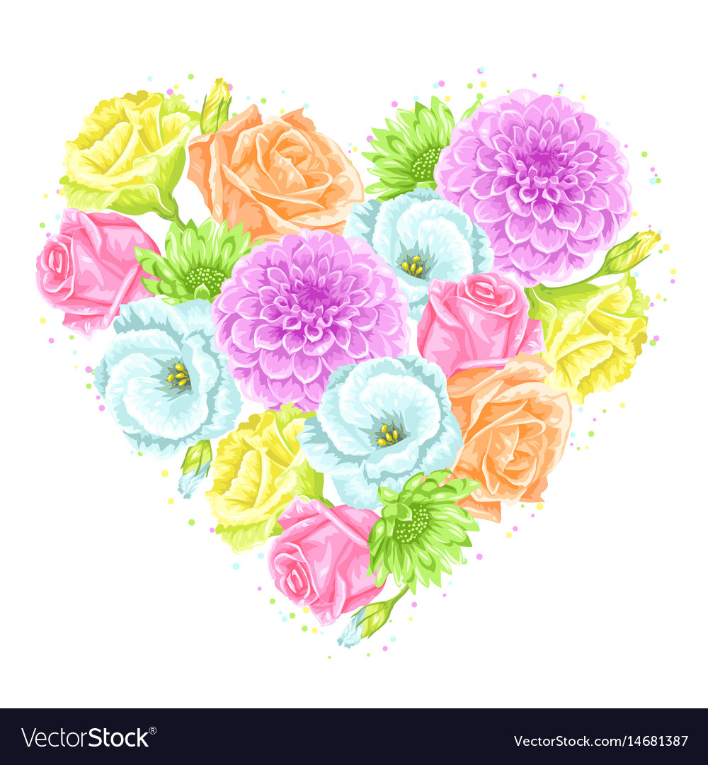 Decorative heart with delicate flowers object for vector image