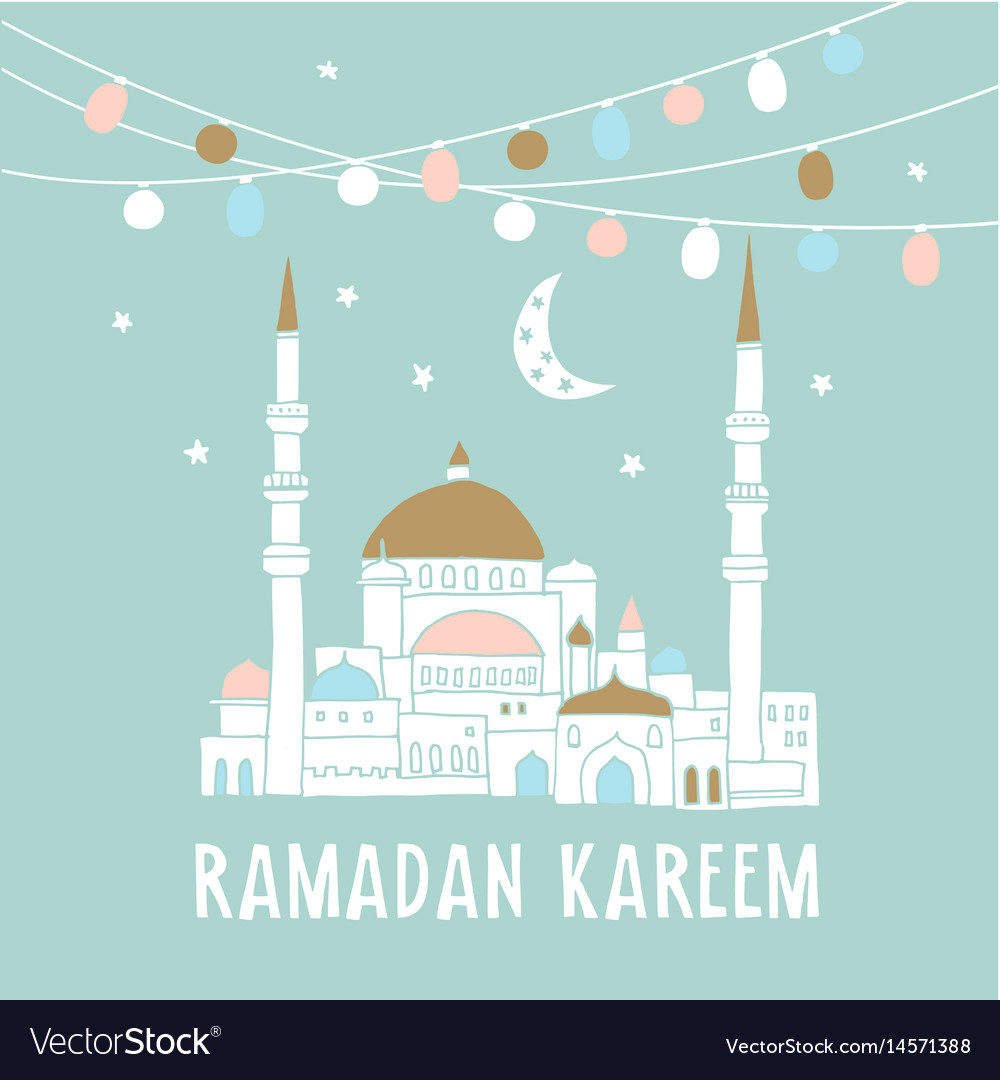 Silhouette of hand drawn mosque with garlands of vector image