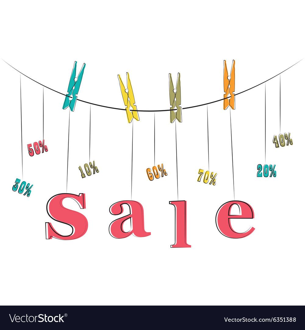 Word sale hanging on the rope vector image