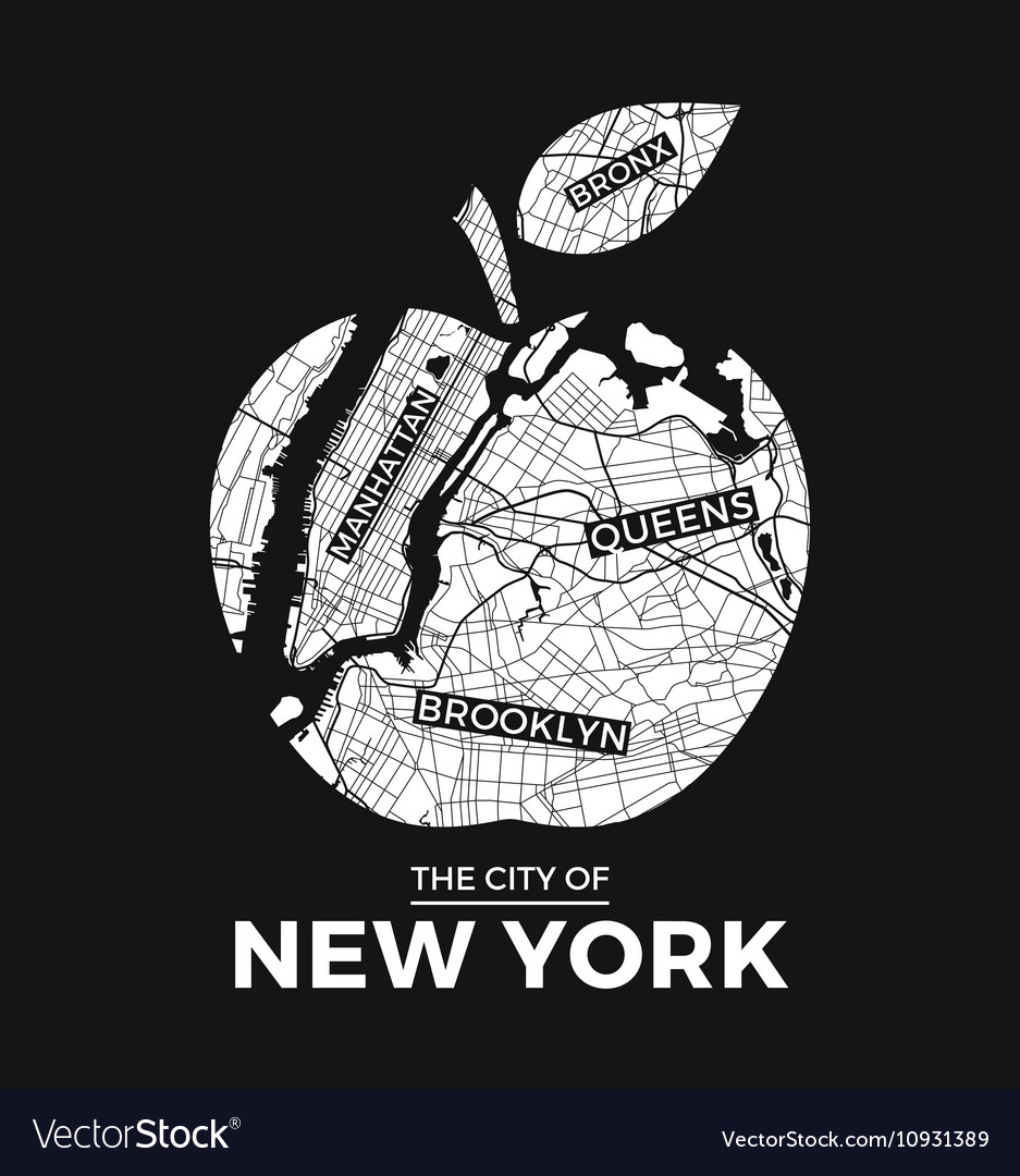 Design t shirts graphic - New York T Shirt Design Big Apple With City Map Vector Image