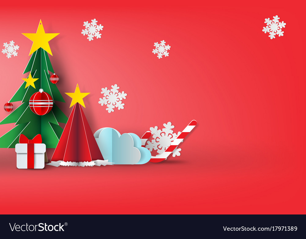 Paper art of merry christmas sky vector image