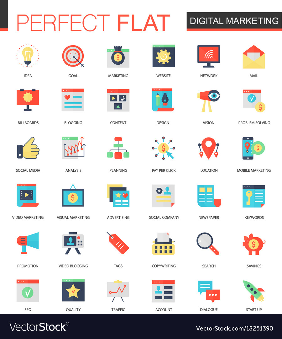 Set of flat digital marketing icons vector image