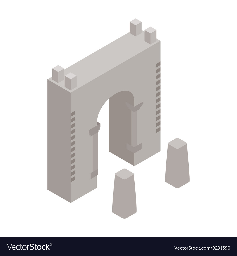 Wall fortress icon isometric 3d style vector image