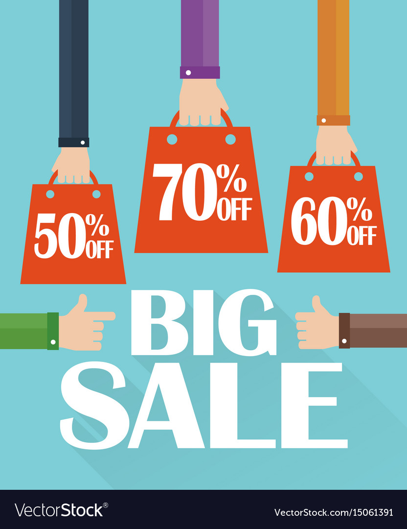 Flat modern design big sale shopping bag vector image