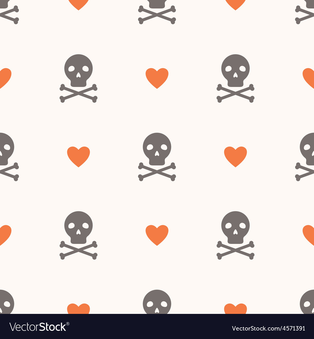 Seamless pattern with skulls and hearts vector image