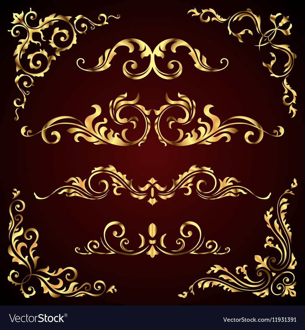 Victorian set of golden ornate page decor vector image