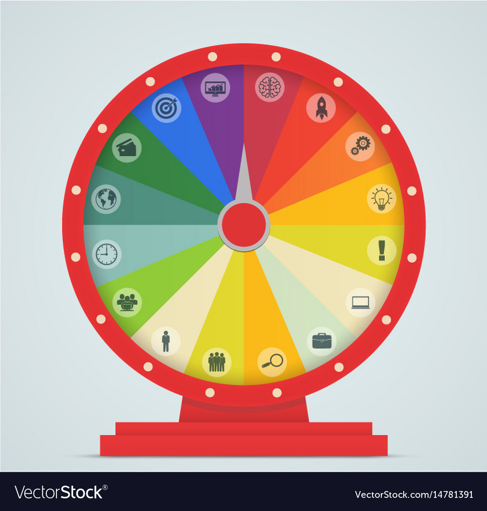 Wheel of fortune with business icons vector image