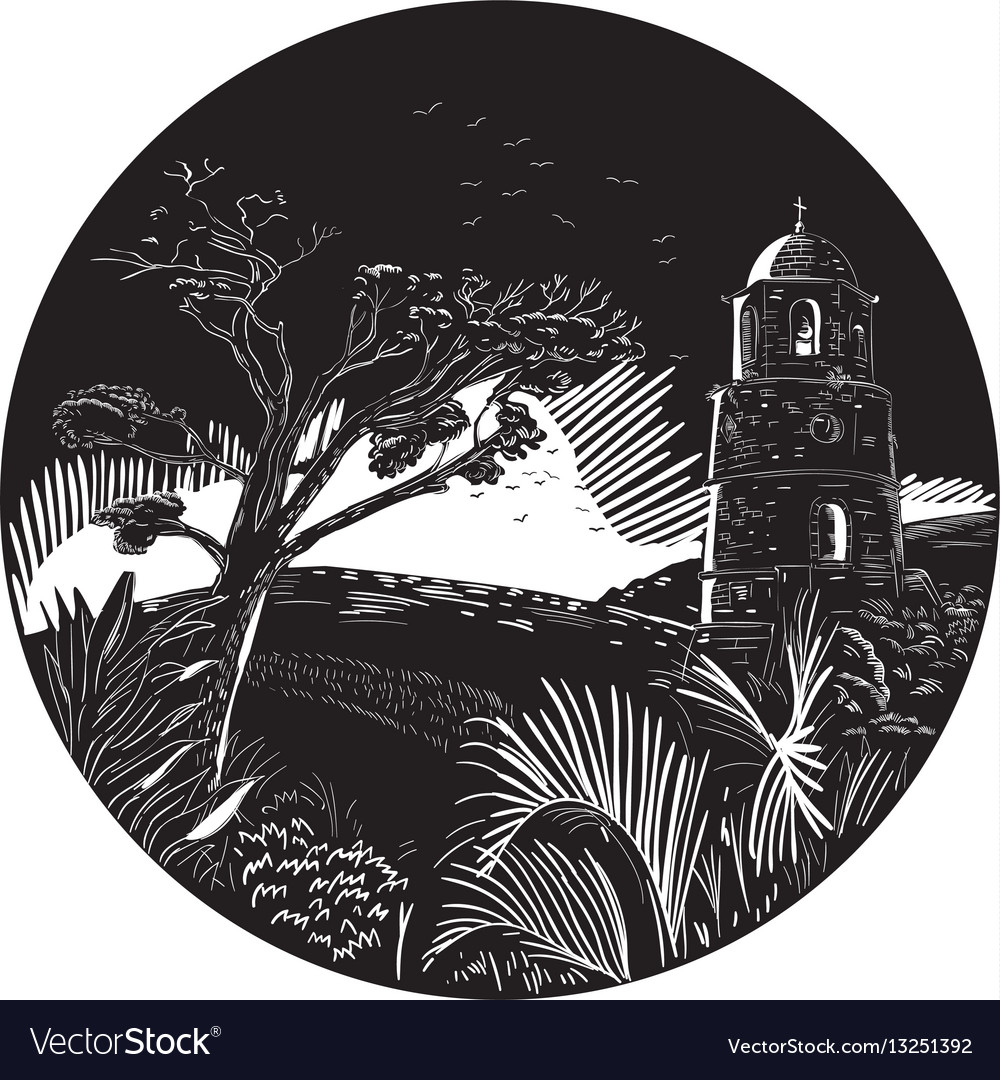 Belfry tower on hill trees circle woodcut vector image