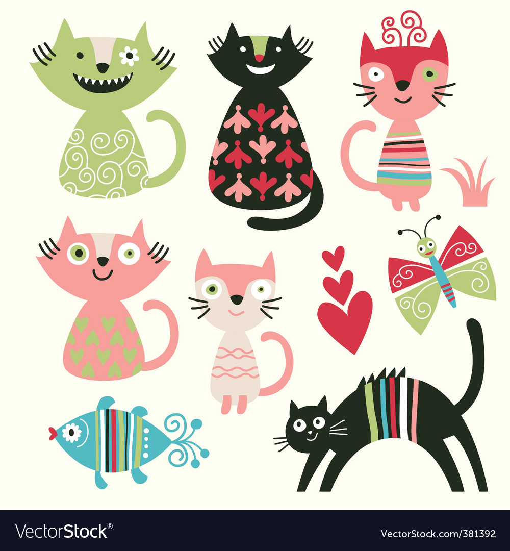 cute funny pictures. Cute Funny Cats Vector