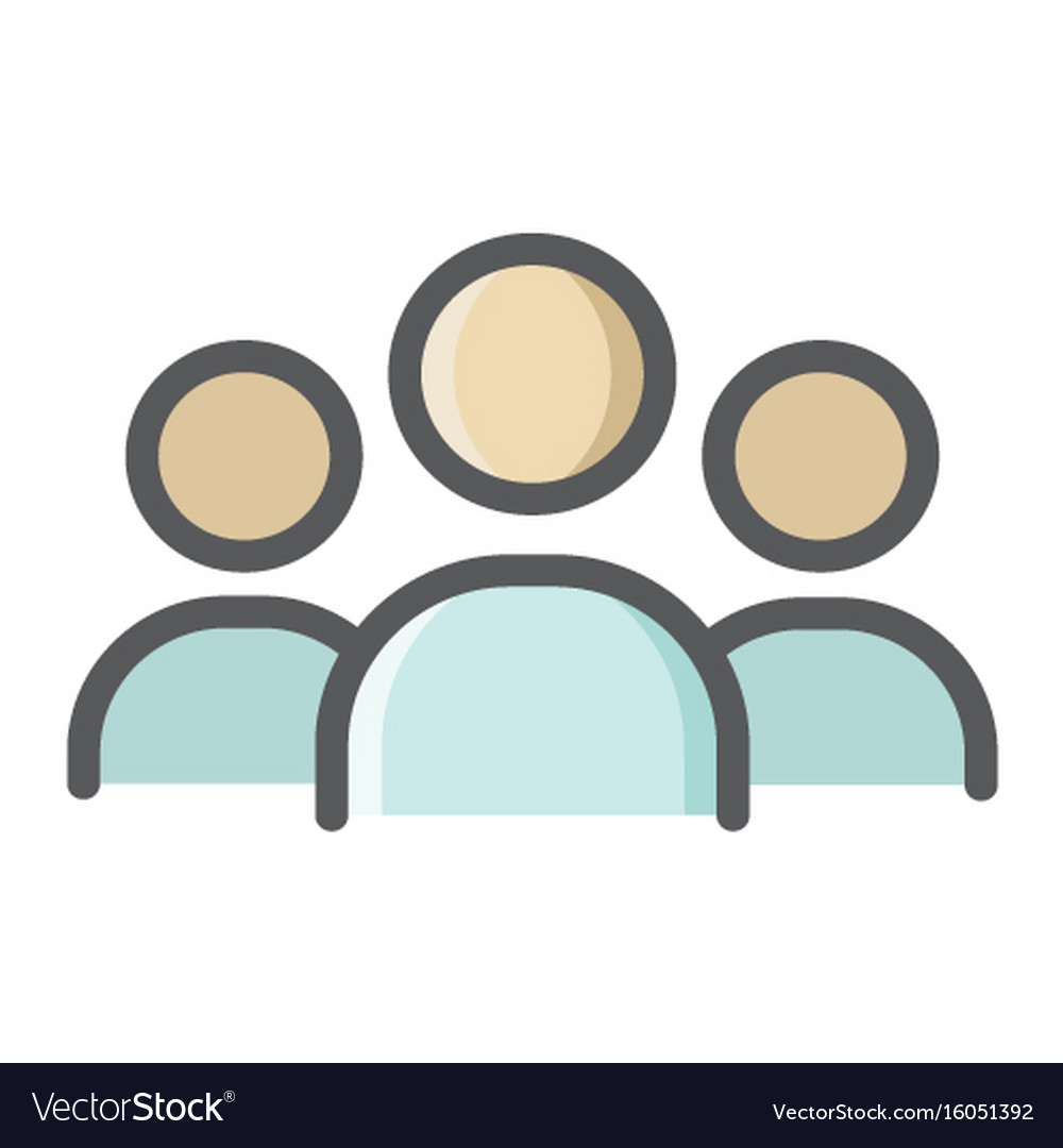 Team colorful line icon business and group vector image