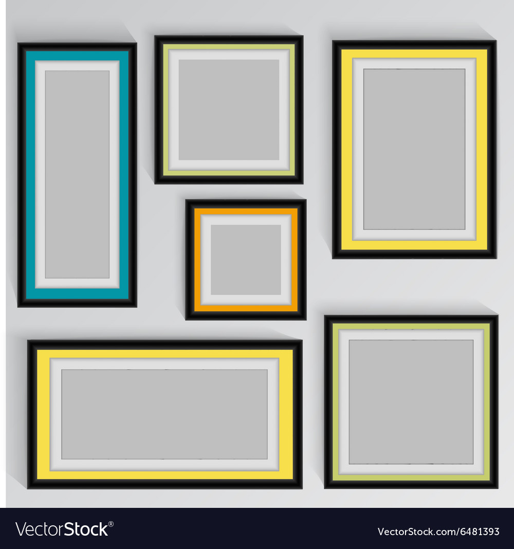 Wood frames set free vector - Wooden Square Picture Frames Color Rainbow Set For Vector Image