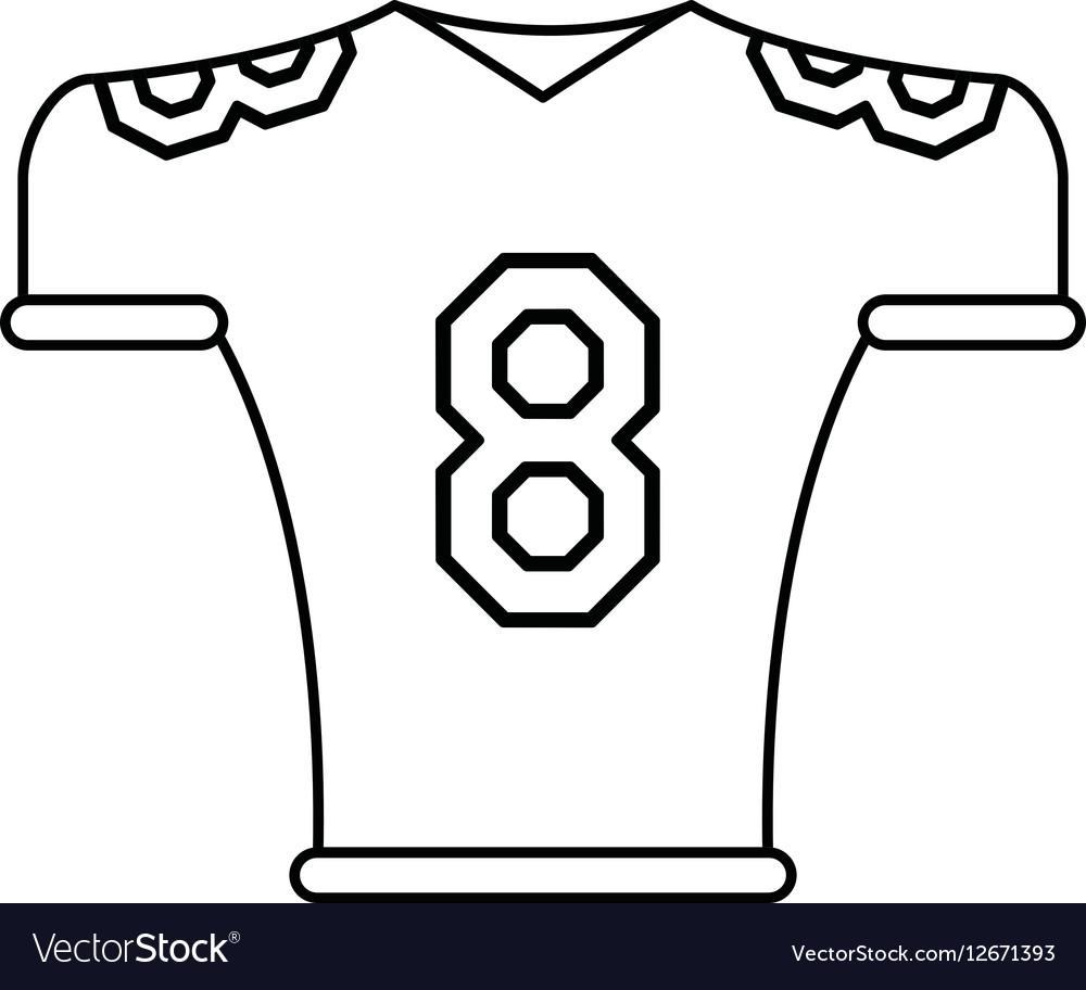 American football jersey uniform tshirt outline vector image